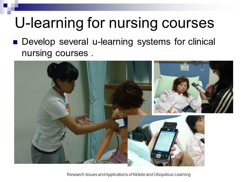 U-learning for nursing courses Develop several u-learning systems for clinical nursing courses.