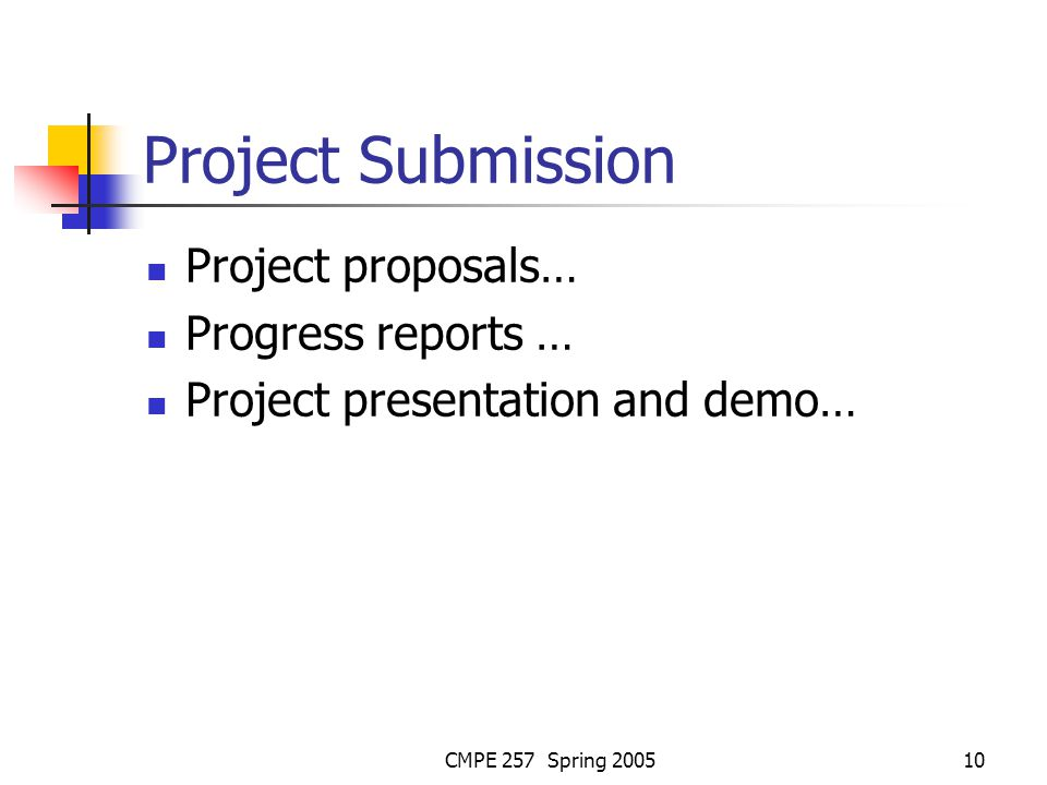CMPE 257 Spring 200510 Project Submission Project proposals… Progress reports … Project presentation and demo…