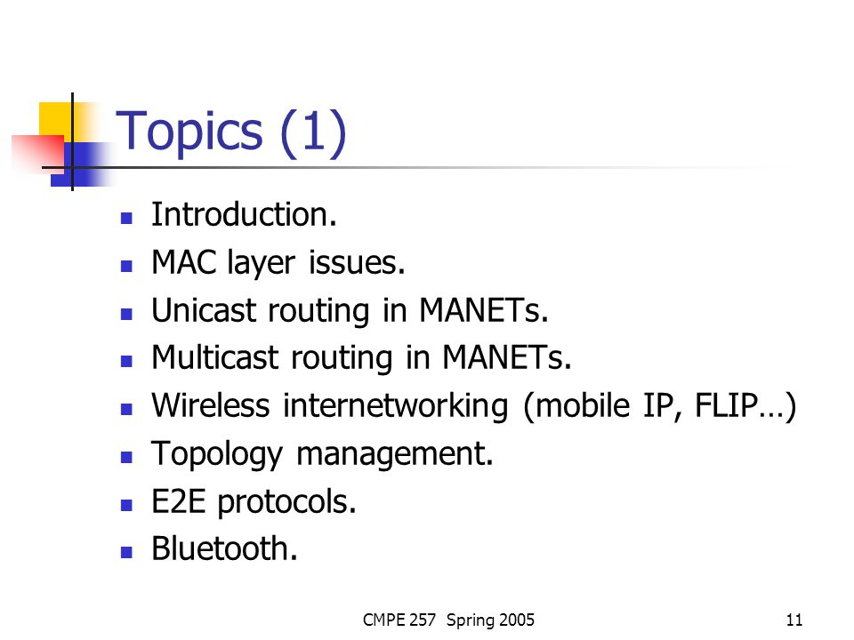 CMPE 257 Spring 200511 Topics (1) Introduction. MAC layer issues.