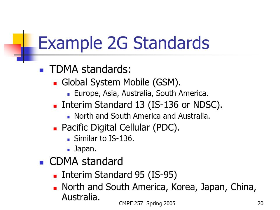 CMPE 257 Spring 200520 Example 2G Standards TDMA standards: Global System Mobile (GSM).
