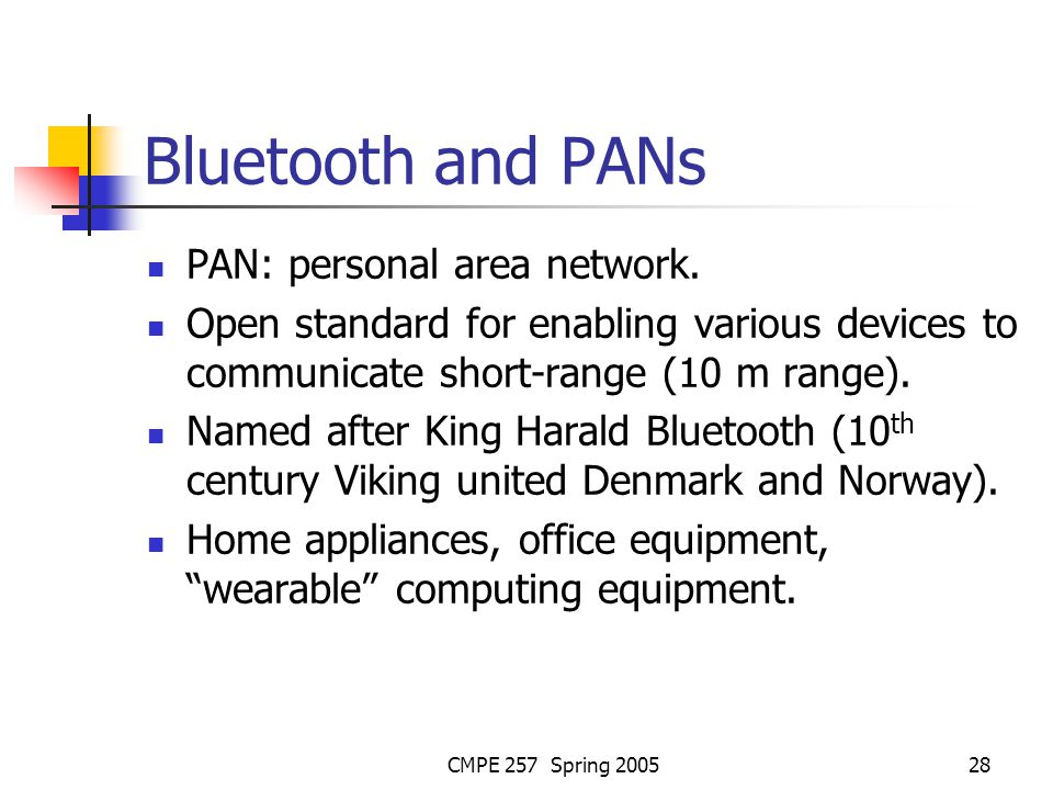 CMPE 257 Spring 200528 Bluetooth and PANs PAN: personal area network.