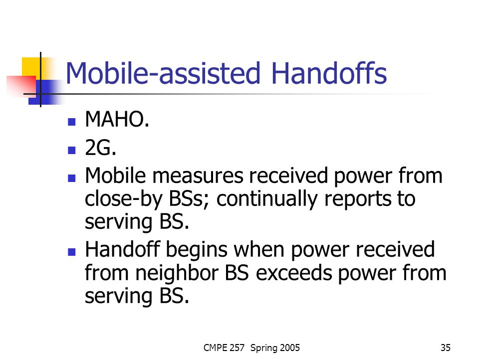CMPE 257 Spring 200535 Mobile-assisted Handoffs MAHO.
