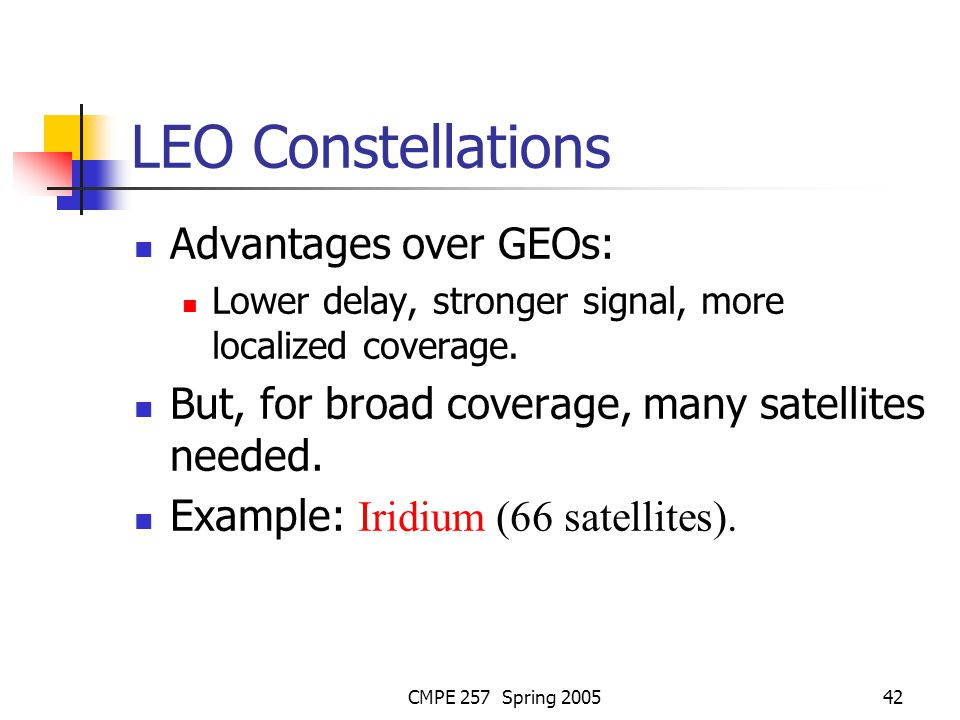 CMPE 257 Spring 200542 LEO Constellations Advantages over GEOs: Lower delay, stronger signal, more localized coverage.