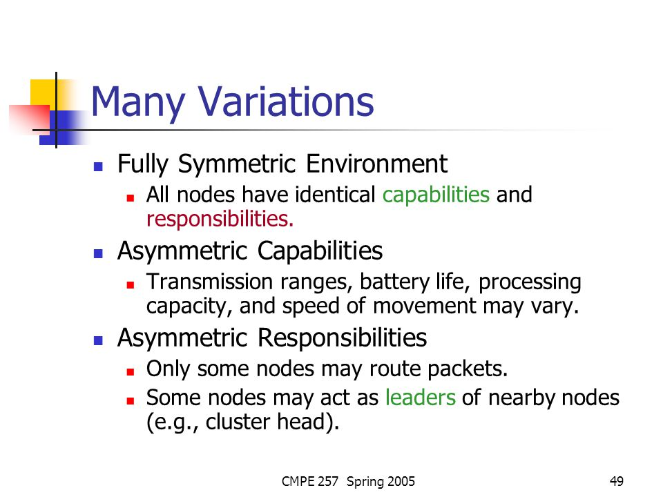 CMPE 257 Spring 200549 Many Variations Fully Symmetric Environment All nodes have identical capabilities and responsibilities.