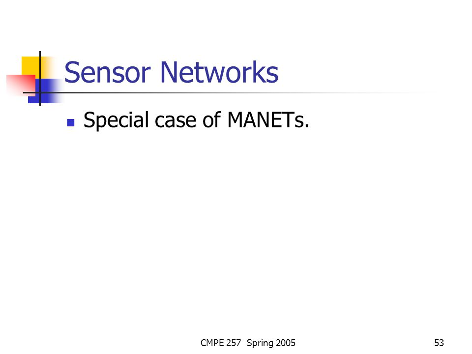 CMPE 257 Spring 200553 Sensor Networks Special case of MANETs.