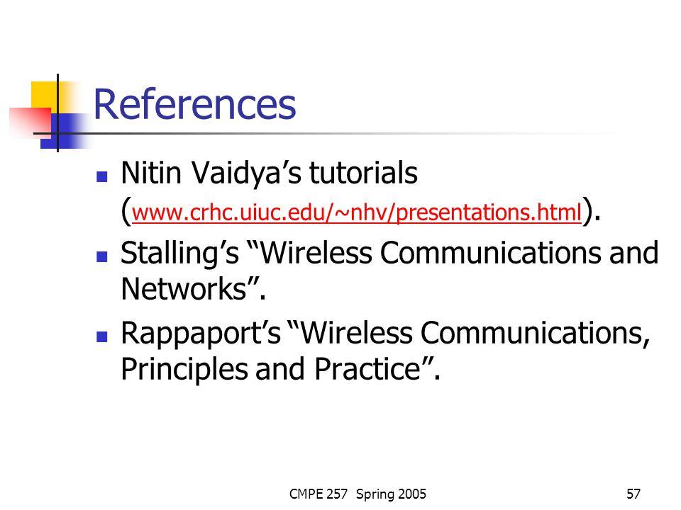 CMPE 257 Spring 200557 References Nitin Vaidyas tutorials ( www.crhc.uiuc.edu/~nhv/presentations.html ). www.crhc.uiuc.edu/~nhv/presentations.html Sta