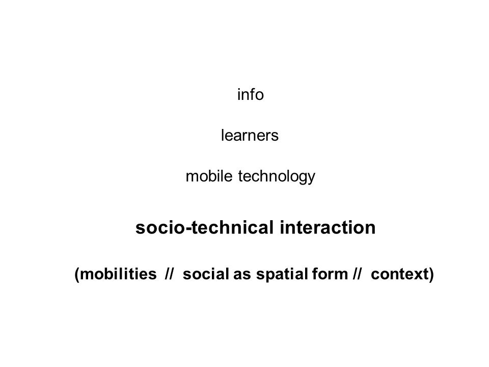 mobile technology learners info socio-technical interaction (mobilities // social as spatial form // context)