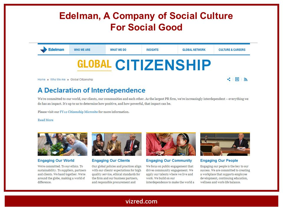 vizred.com Edelman, A Company of Social Culture For Social Good