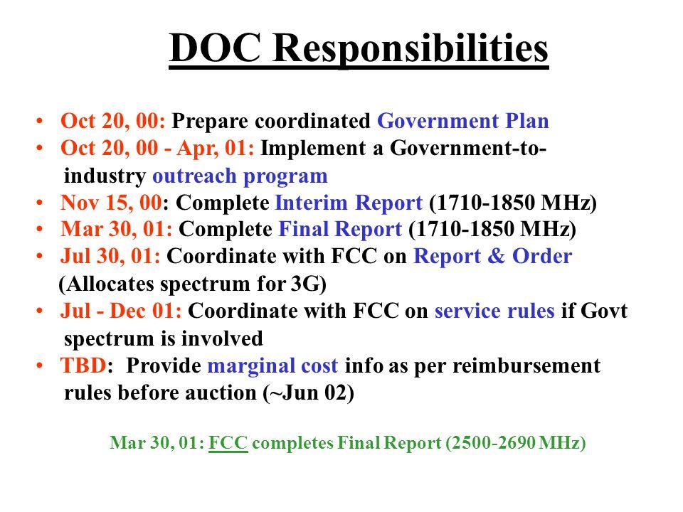 DOC Responsibilities Mar 30, 01: FCC completes Final Report (2500-2690 MHz) Mar 30, 01: Complete Final Report (1710-1850 MHz) Jul 30, 01: Coordinate w