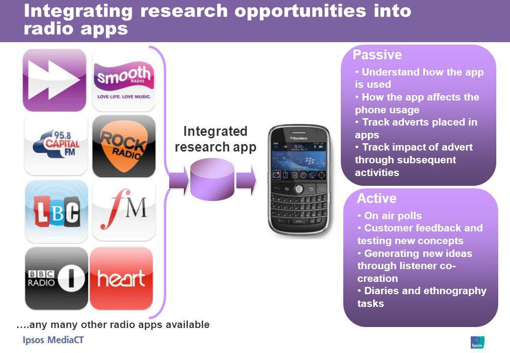 Integrating research opportunities into radio apps ….any many other radio apps available Integrated research app Passive Active Understand how the app