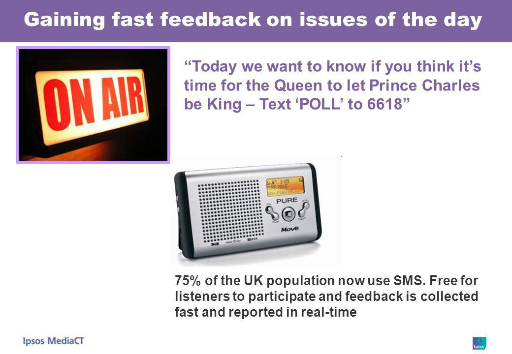 Gaining fast feedback on issues of the day 75% of the UK population now use SMS. Free for listeners to participate and feedback is collected fast and