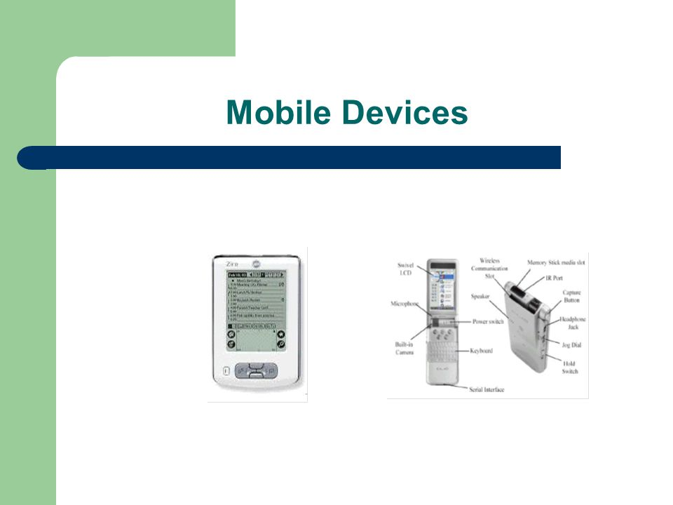 Web directories on Mobile Devices The approach: – intermittent connection communication model: User synchronize its device via a cheap reliable and fast connection: – Sync in Palm.