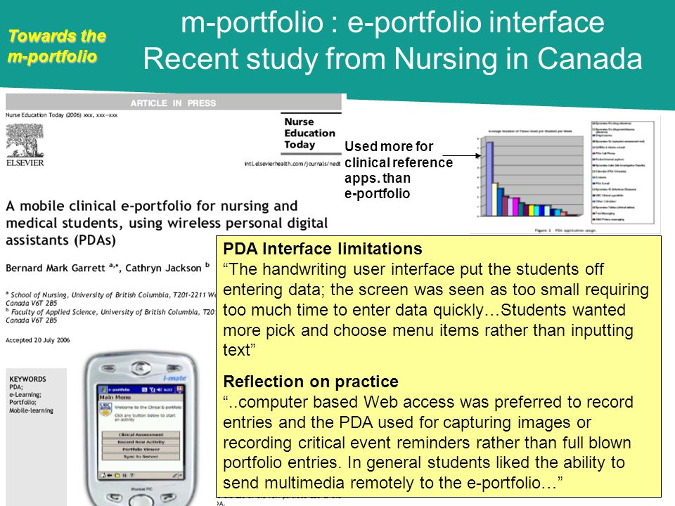Towards the m-portfolio PDA Interface limitations The handwriting user interface put the students off entering data; the screen was seen as too small requiring too much time to enter data quickly…Students wanted more pick and choose menu items rather than inputting text Reflection on practice..computer based Web access was preferred to record entries and the PDA used for capturing images or recording critical event reminders rather than full blown portfolio entries.