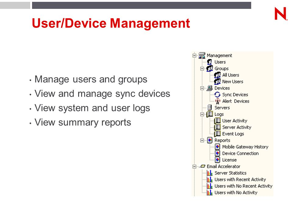 User/Device Management Manage users and groups View and manage sync devices View system and user logs View summary reports