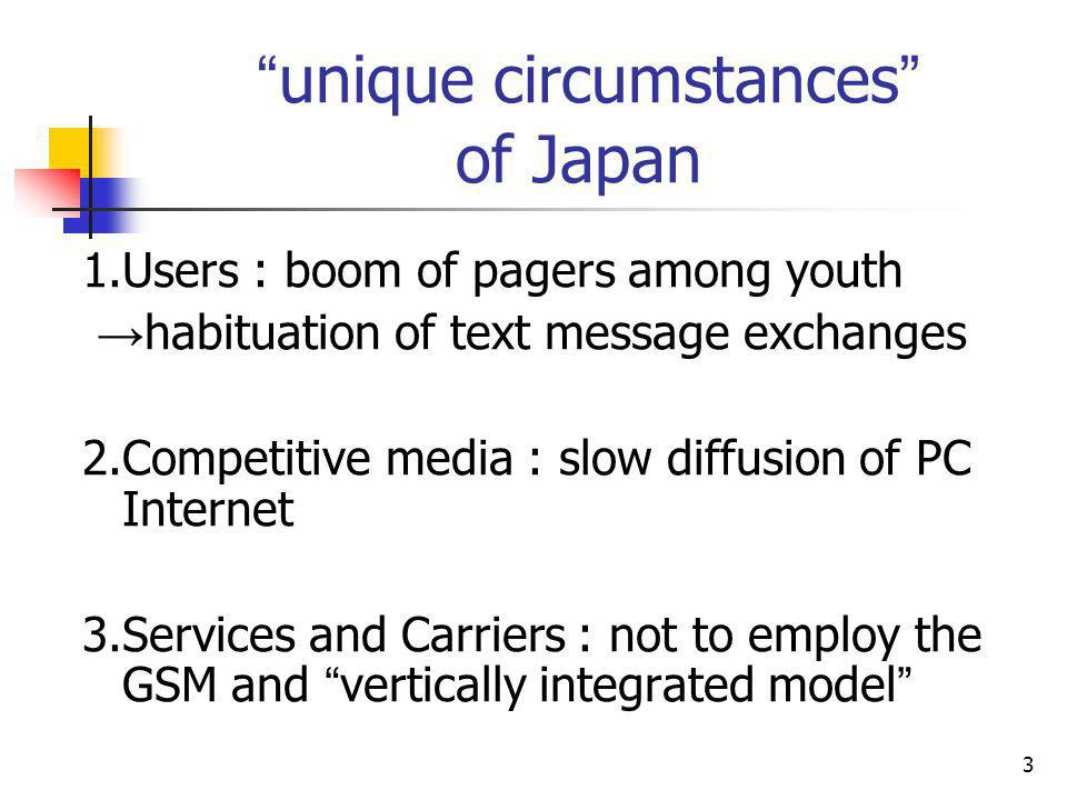 3 unique circumstances of Japan 1.Users : boom of pagers among youth habituation of text message exchanges 2.Competitive media : slow diffusion of PC Internet 3.Services and Carriers : not to employ the GSM and vertically integrated model