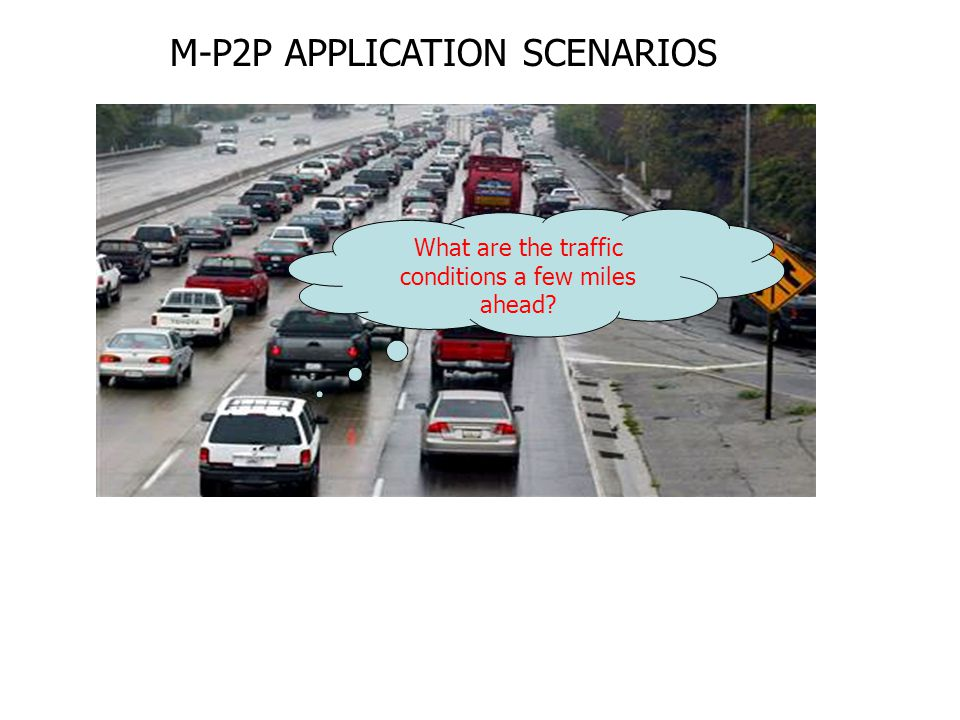 What are the traffic conditions a few miles ahead? M-P2P APPLICATION SCENARIOS
