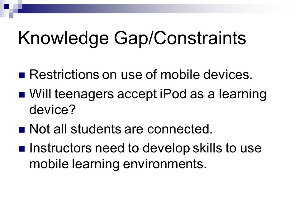 Correlation to Prior Analysis Design Requirements Synthesis of Input on Creating Mobile Application Elements of Design Solution: Photo Essay User Need: Teacher Bound by Standards Content indicated by Strand/Standard is amenable to chunking and short exercises Sweet spot for mobile apps is 5-15 minutes Students will use device to generate photo essays showing and describing people, places, and things using camera and keyboard functions; will publish work with connectivity functions Strand- Presentational: Write and speak in a language other than English to present information, concepts, and ideas on a variety of topics Standard: Describe people, places, and things