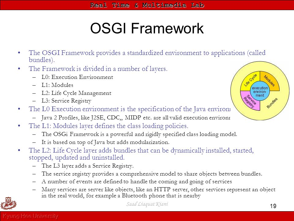 Real Time & Multimedia Lab Saad Liaquat Kiani 19 OSGI Framework The OSGI Framework provides a standardized environment to applications (called bundles