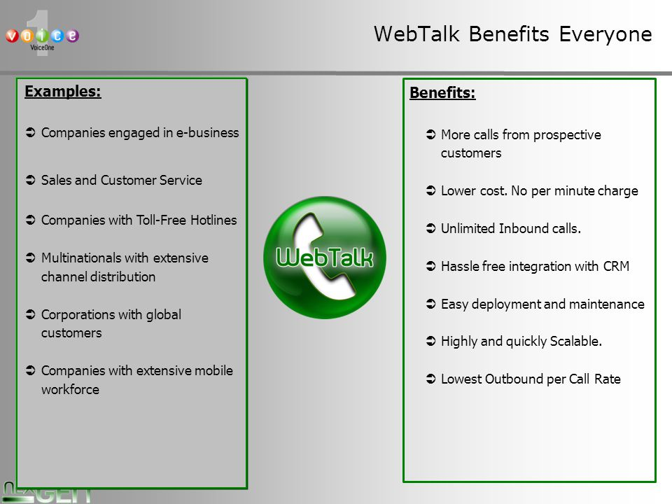 13 WebTalk Benefits Everyone Examples: Companies engaged in e-business Sales and Customer Service Companies with Toll-Free Hotlines Multinationals with extensive channel distribution Corporations with global customers Companies with extensive mobile workforce Benefits: More calls from prospective customers Lower cost.