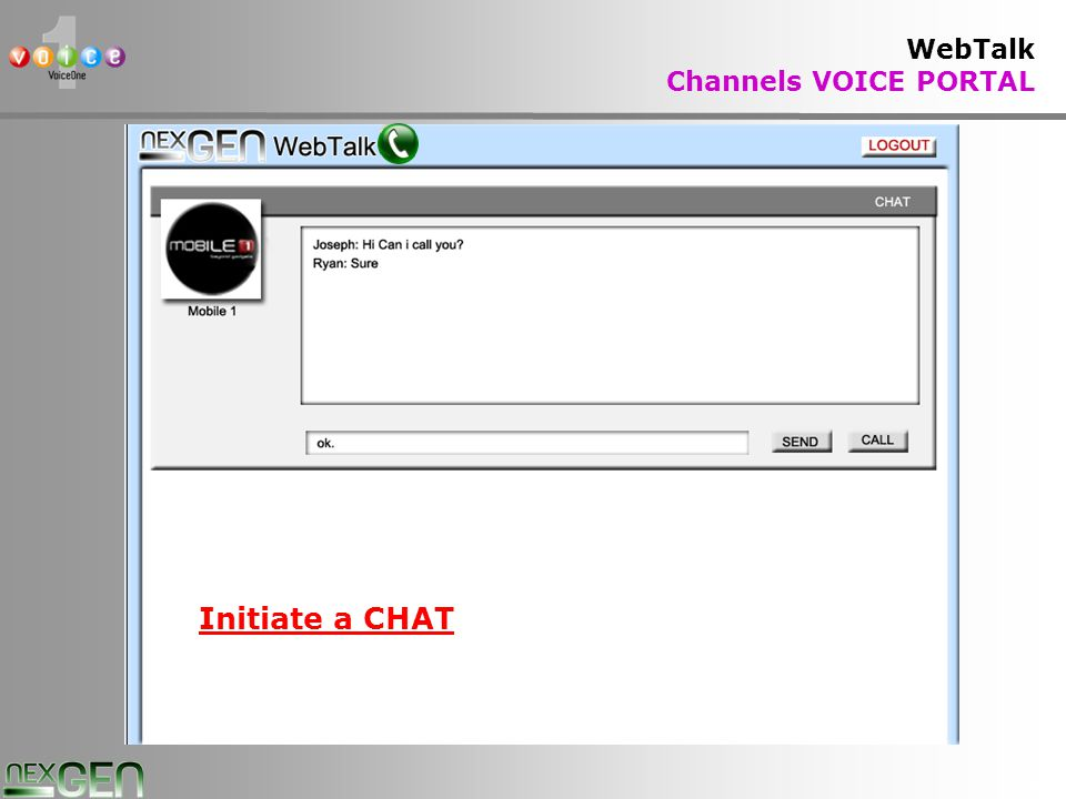 27 WebTalk Channels VOICE PORTAL Initiate a CHAT