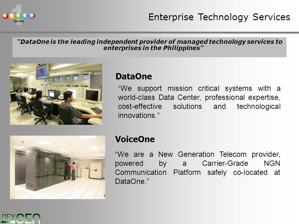 4 VoiceOne Mission VoiceOne aims to be the leading provider of New Generation Telecommunication Services.