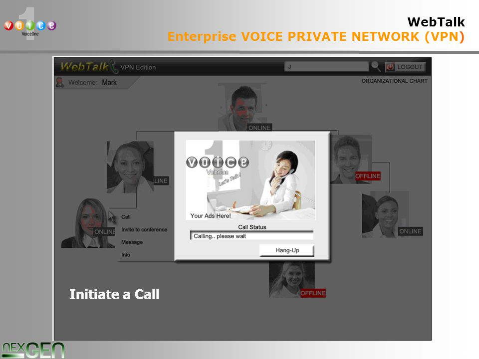 34 WebTalk Enterprise VOICE PRIVATE NETWORK (VPN) Initiate a Call