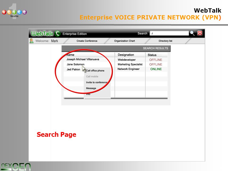 36 WebTalk Enterprise VOICE PRIVATE NETWORK (VPN) Search Page
