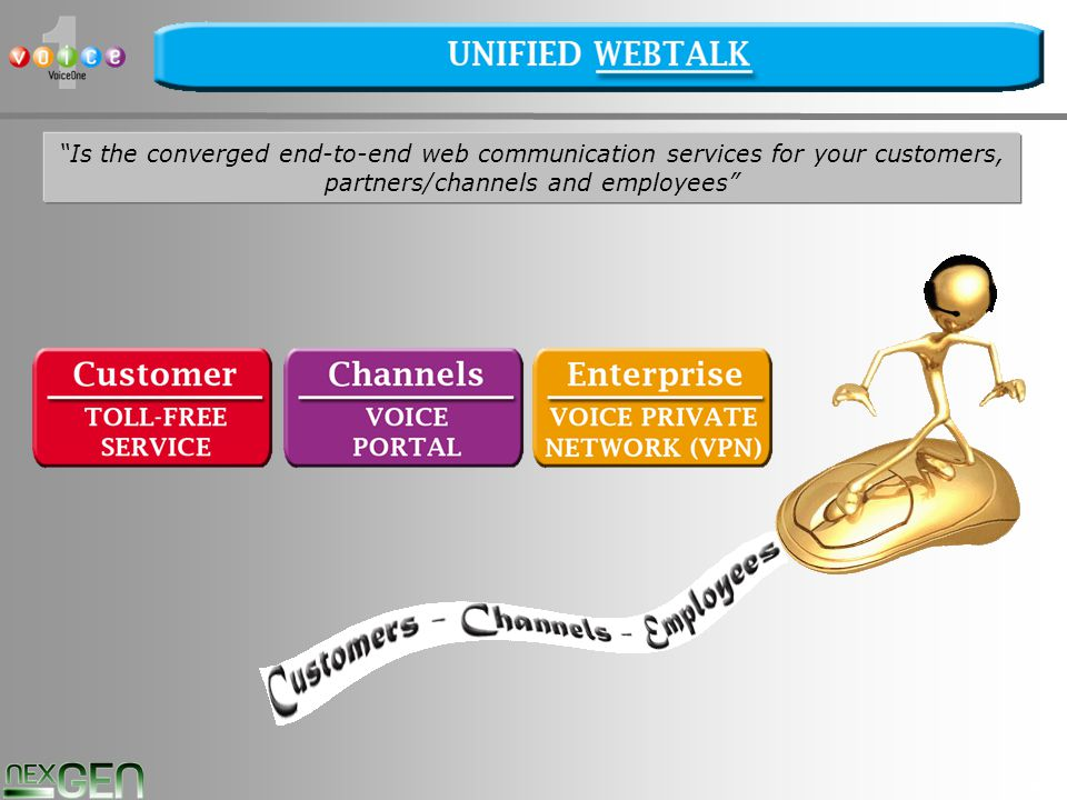 40 Is the converged end-to-end web communication services for your customers, partners/channels and employees