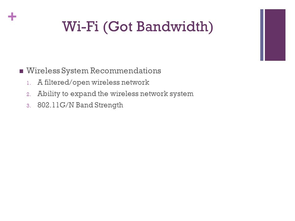 + Wi-Fi (Got Bandwidth) Wireless System Recommendations 1.