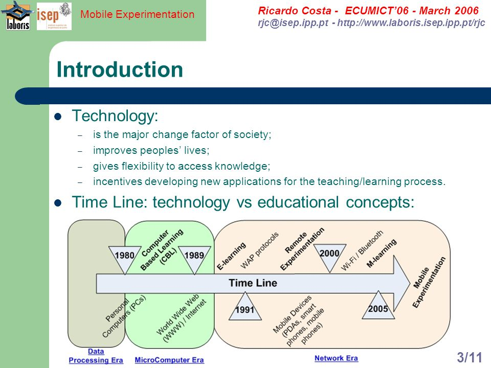 Ricardo Costa - ECUMICT06 - March 2006 rjc@isep.ipp.pt - http://www.laboris.isep.ipp.pt/rjc Mobile Experimentation 3/11 Introduction Technology: – is the major change factor of society; – improves peoples lives; – gives flexibility to access knowledge; – incentives developing new applications for the teaching/learning process.