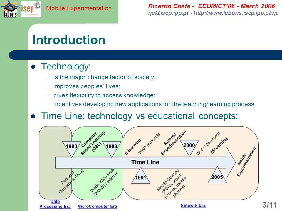 Ricardo Costa - ECUMICT06 - March 2006 rjc@isep.ipp.pt - http://www.laboris.isep.ipp.pt/rjc Mobile Experimentation 3/11 Introduction Technology: – is