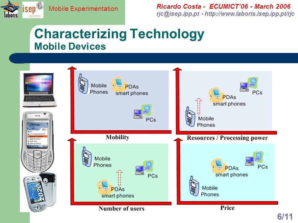Ricardo Costa - ECUMICT06 - March 2006 rjc@isep.ipp.pt - http://www.laboris.isep.ipp.pt/rjc Mobile Experimentation 6/11 Characterizing Technology Mobi