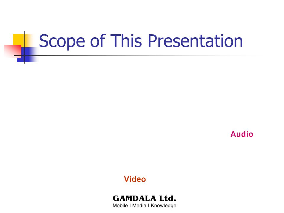 Scope of This Presentation Audio Video