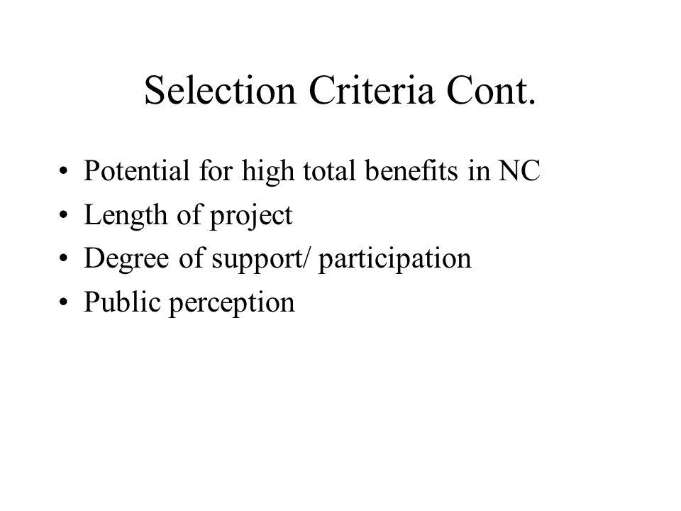Selection Criteria Cont.