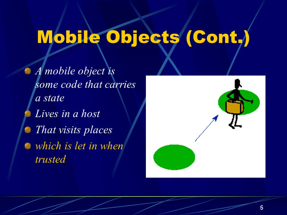 6 Mobile Objects (Cont.) A mobile object is some code that carries a state Lives in a host That visits places which is let in when trusted and barred when untrusted