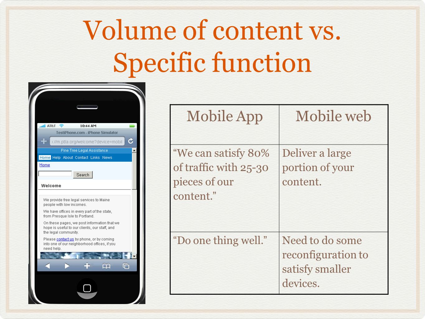 Volume of content vs. Specific function Mobile AppMobile web We can satisfy 80% of traffic with 25-30 pieces of our content. Deliver a large portion o