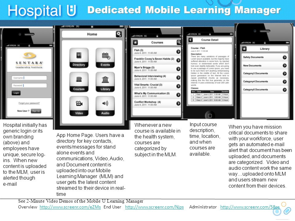 Deliver &Track Your Own Content + 3 rd Party Apps 1) Mobile Learning Manager (MLM) will allow the health system to upload its own mission critical content-deliver to your populations devices in real time Nursing OrientationNursing Orientation Resident/physician toolsResident/physician tools Policy and proceduresPolicy and procedures Health and safetyHealth and safety Rapid content creation/distribution (e.g., grand rounds)Rapid content creation/distribution (e.g., grand rounds) Bedside decision supportBedside decision support Mobile electronic medical recordsMobile electronic medical records Leadership developmentLeadership development Patient Ed to all specialtiesPatient Ed to all specialties Will record and track all content usage and provide user reporting-acts as a light mobile LMS or can interface with your LMSWill record and track all content usage and provide user reporting-acts as a light mobile LMS or can interface with your LMS 2) In addition, the hospital will approve a series of 3 rd party medical apps (depending on clinical specialty-see graphic) and users will be able to be download to their respective devices