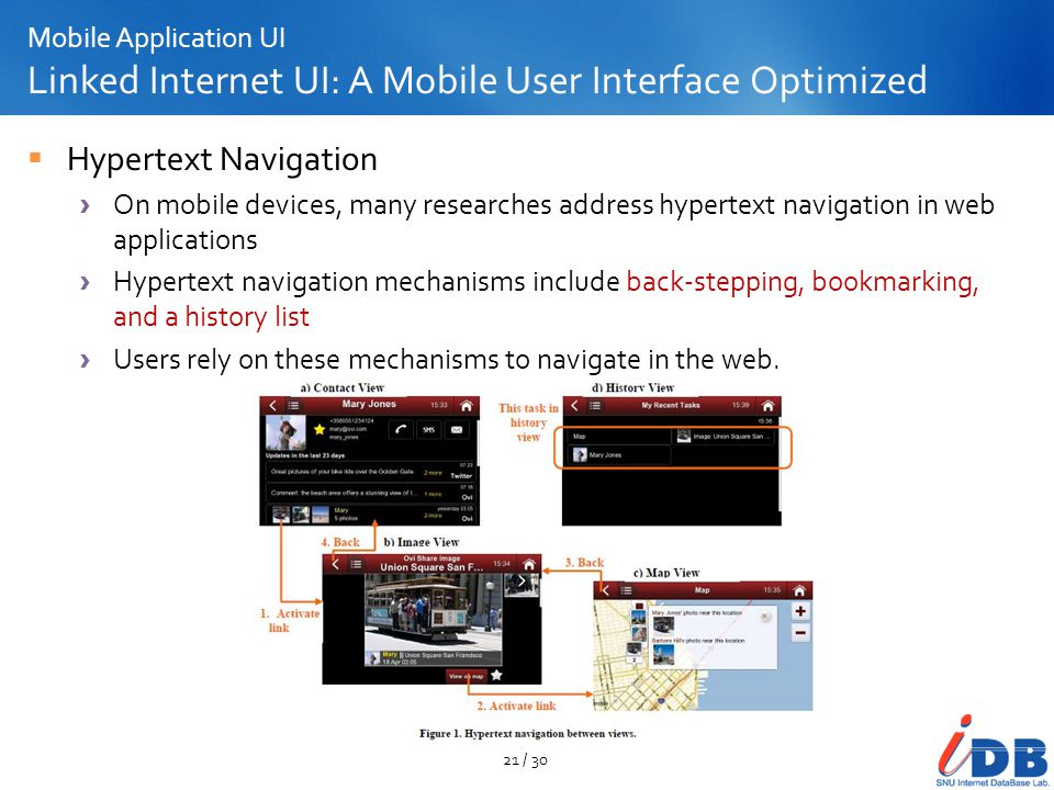 Mobile Application UI Linked Internet UI: A Mobile User Interface Optimized Hypertext Navigation On mobile devices, many researches address hypertext