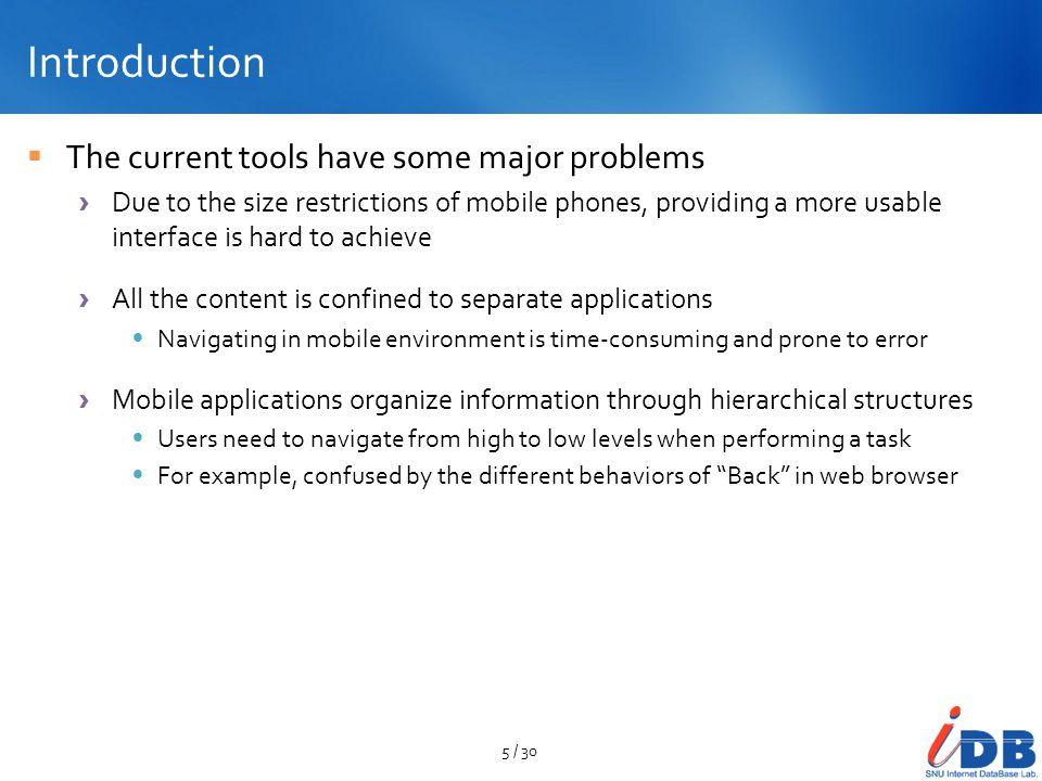 Contents Introduction Mobile Web browser UI Mobile Application UI Mobile Widget UI Conclusion 6 / 30