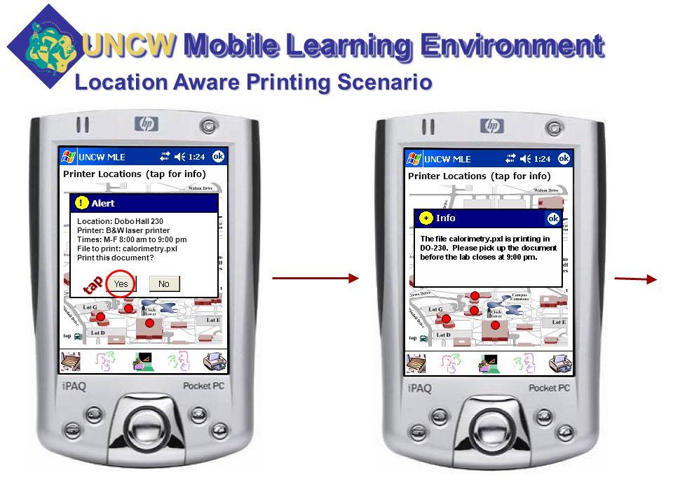 Printer Locations (tap for info) Location Aware Printing Scenario Alert .