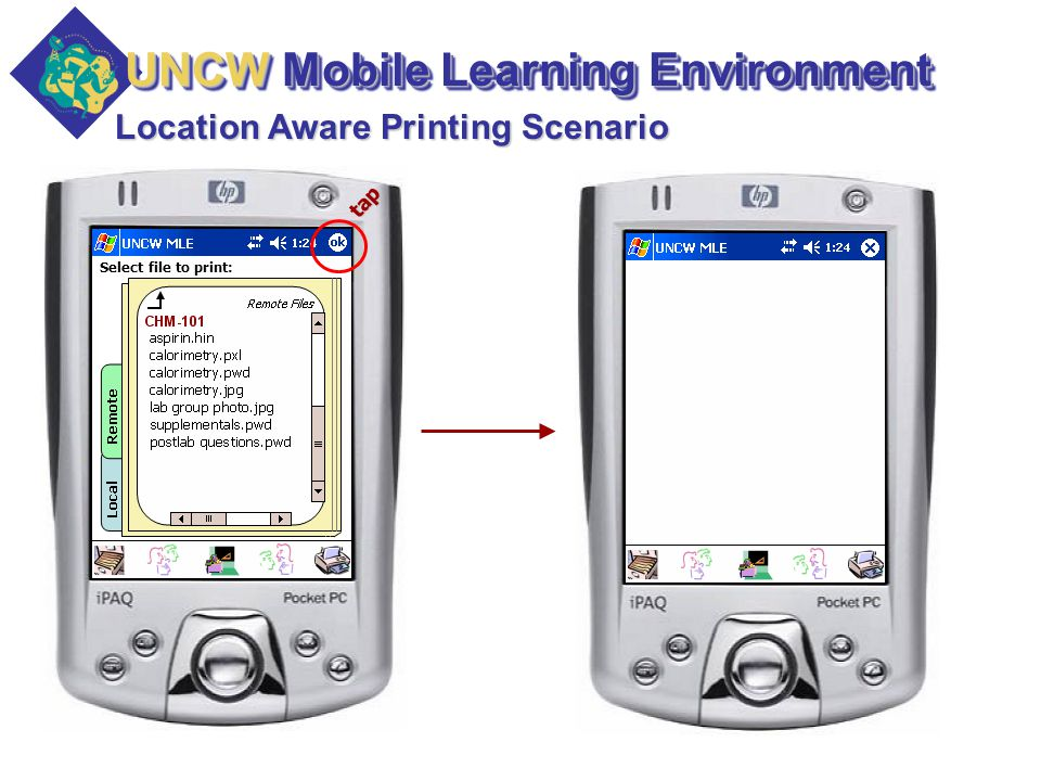 Select file to print: Location Aware Printing Scenario tap UNCW Mobile Learning Environment