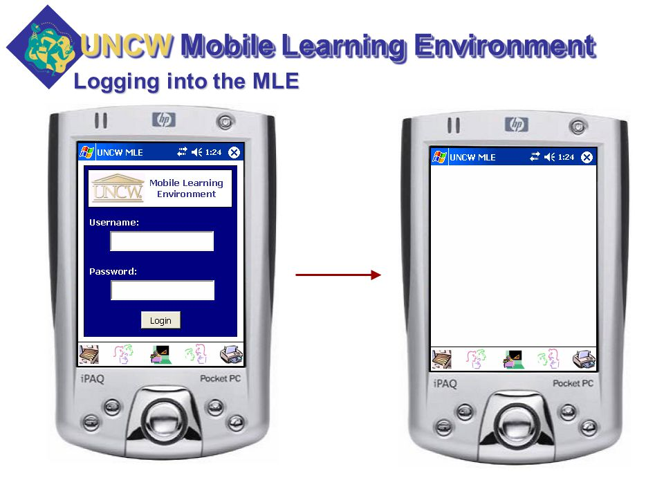 Logging into the MLE UNCW Mobile Learning Environment