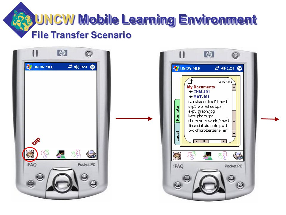 File Transfer Scenario tap UNCW Mobile Learning Environment