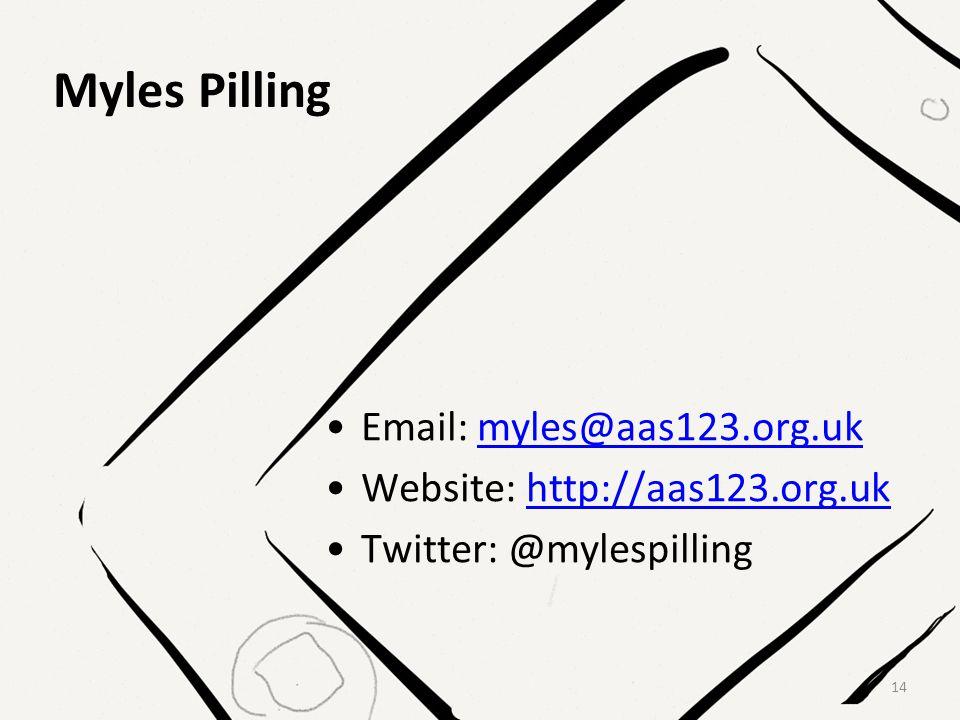 Myles Pilling Email: myles@aas123.org.ukmyles@aas123.org.uk Website: http://aas123.org.ukhttp://aas123.org.uk Twitter: @mylespilling 14