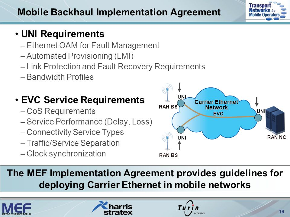 16 Mobile Backhaul Implementation Agreement UNI Requirements –Ethernet OAM for Fault Management –Automated Provisioning (LMI) –Link Protection and Fault Recovery Requirements –Bandwidth Profiles EVC Service Requirements –CoS Requirements –Service Performance (Delay, Loss) –Connectivity Service Types –Traffic/Service Separation –Clock synchronization RAN NC RAN BS Carrier Ethernet Network UNI EVC The MEF Implementation Agreement provides guidelines for deploying Carrier Ethernet in mobile networks