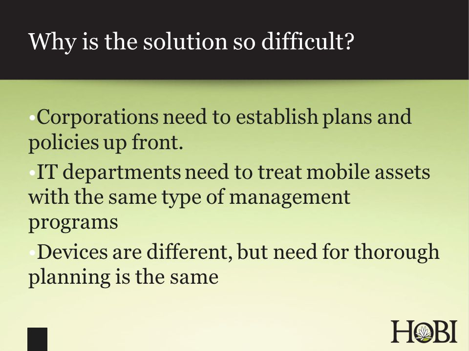 Why is the solution so difficult. Corporations need to establish plans and policies up front.