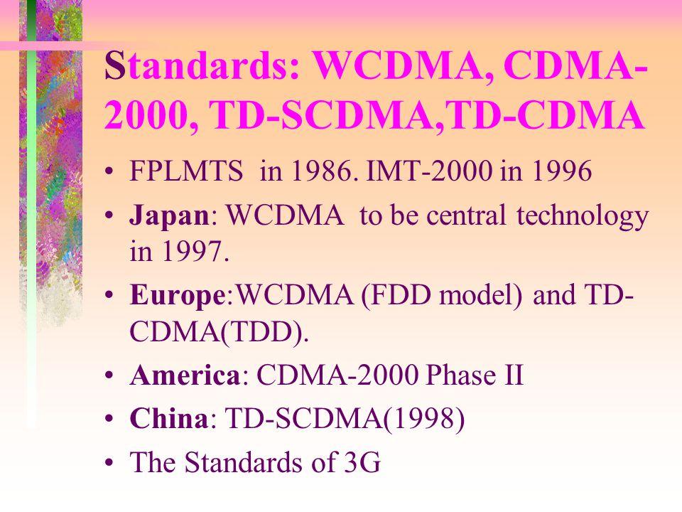 Standards: WCDMA, CDMA- 2000, TD-SCDMA,TD-CDMA FPLMTS in 1986.