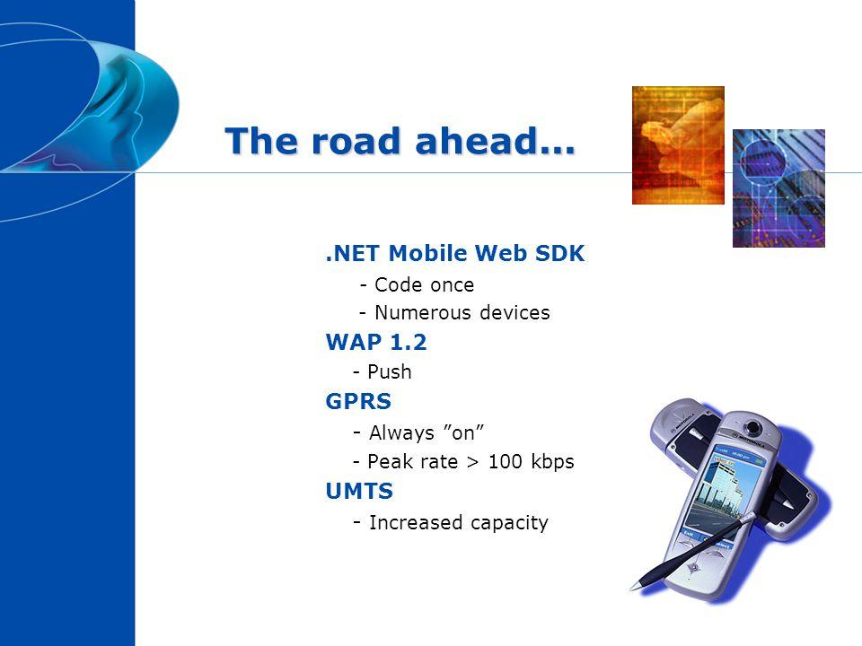 The road ahead....NET Mobile Web SDK - Code once - Numerous devices WAP 1.2 - Push GPRS - Always on - Peak rate > 100 kbps UMTS - Increased capacity