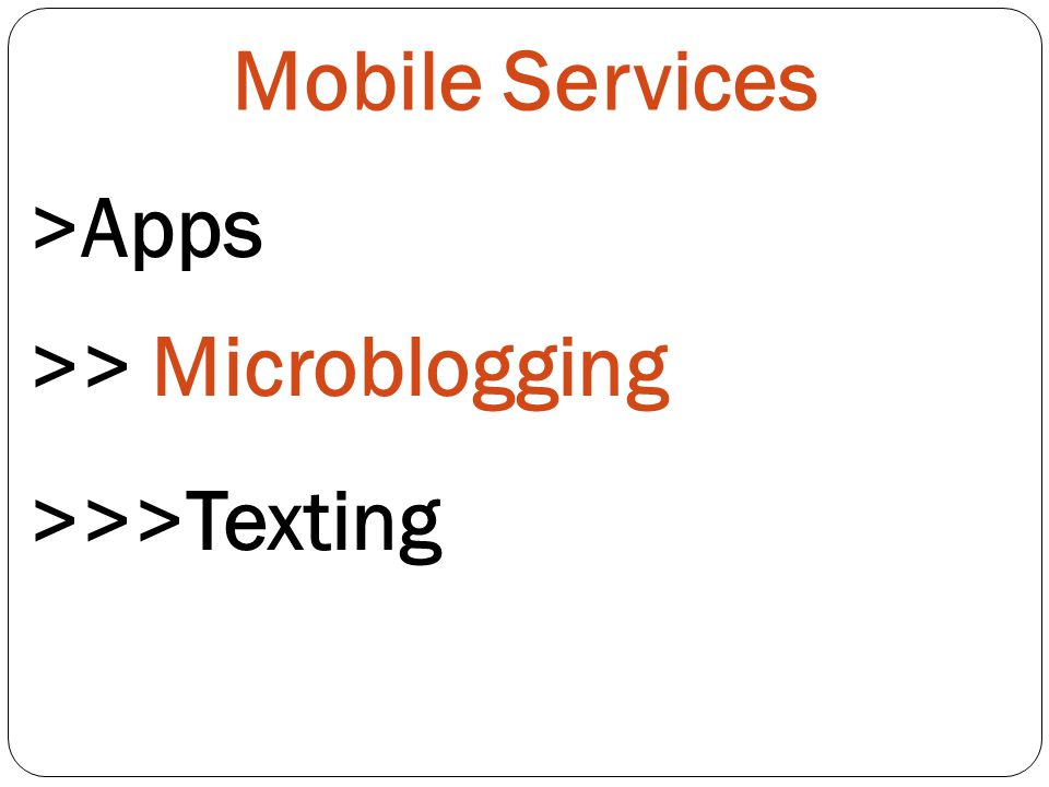 Mobile Services >Apps >> Microblogging >>>Texting