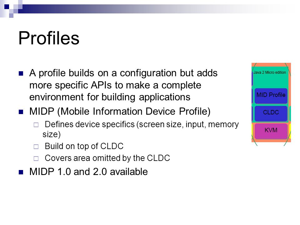Profiles A profile builds on a configuration but adds more specific APIs to make a complete environment for building applications MIDP (Mobile Information Device Profile) Defines device specifics (screen size, input, memory size) Build on top of CLDC Covers area omitted by the CLDC MIDP 1.0 and 2.0 available